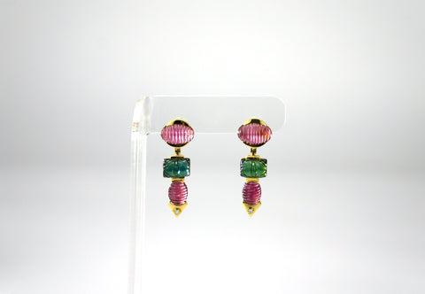 Pink and Green Tourmaline Earrings