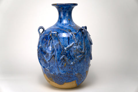 Monumental Blue Ceramic Vase, Dragon Motif