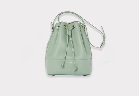 Fonfrege Eugénie bucket bag in Celadon Green. Made in Italy. Available at Fonfrege.com