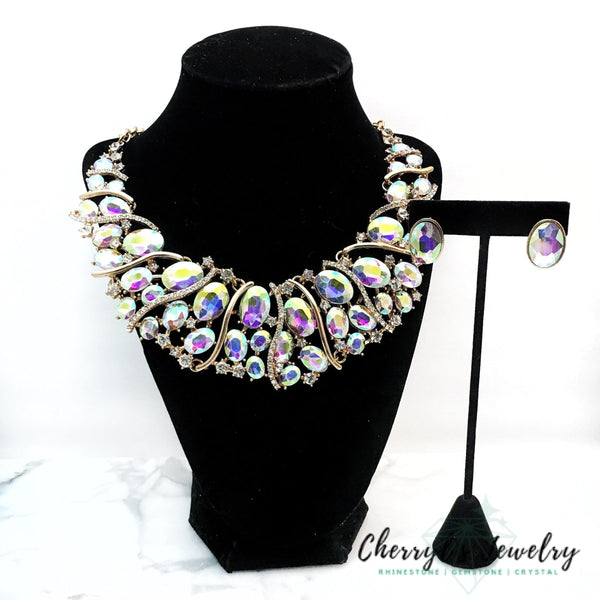 Ab Crystal Statement Necklace Set Sets