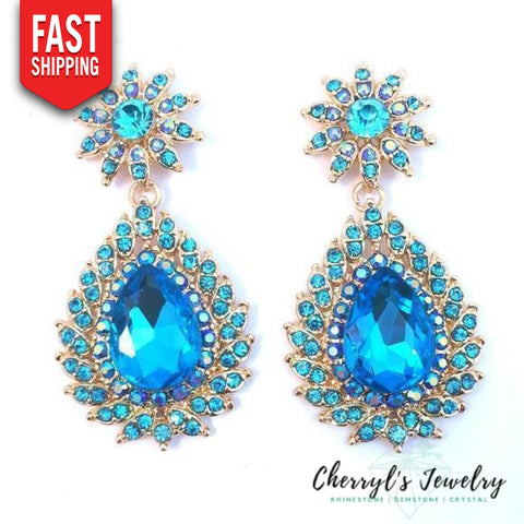 Aqua Blue Crystal Special Occasion Sparkle Earring Earrings