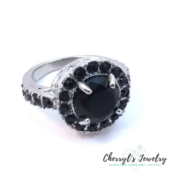 Black Crystal Fashion Cocktail Ring Size 6 Rings