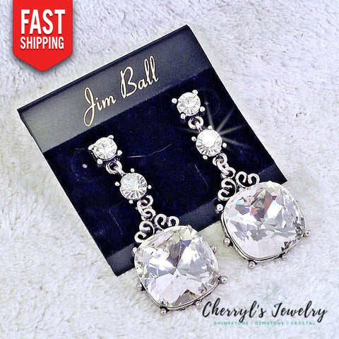 Clear Crystal Drop/dangle Earrings With Large Squared Focal Stone (2)