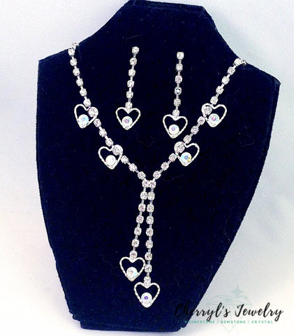 Dangling Hearts Rhinestone And Ab Crystal Prom Party Necklace Earring Set Sets