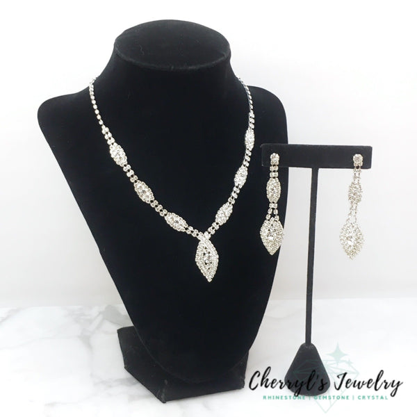 Dangling Teardrop Crystal Rhinestone Necklace And Earring Set Sets