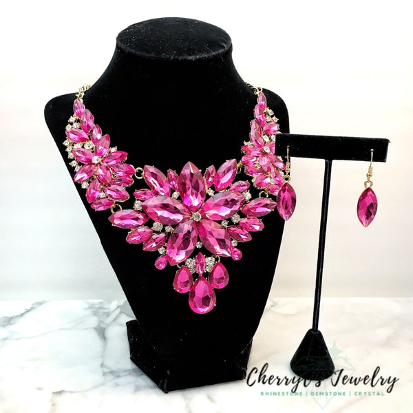 Fuchsia Pink Crystal Statement Necklace Set Sets