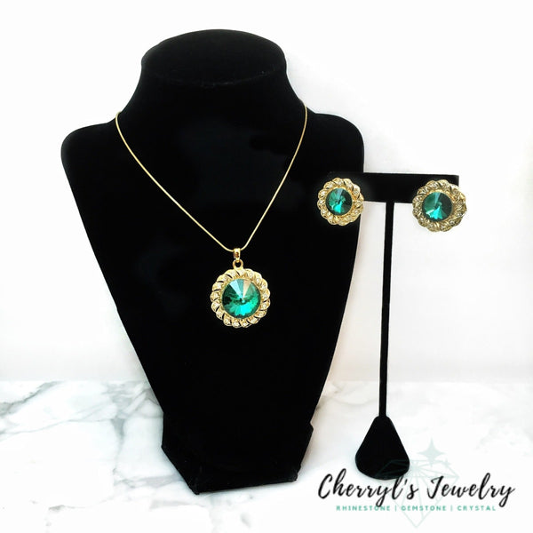 Green Crystal Necklace Set Sets