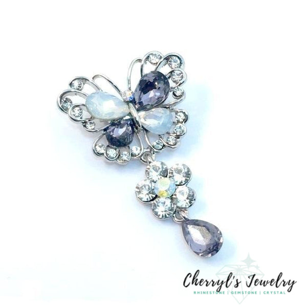 Light Purple Crystal Butterfly Brooch Pins / Brooches