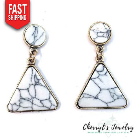 Marble Look Earrings Earrings