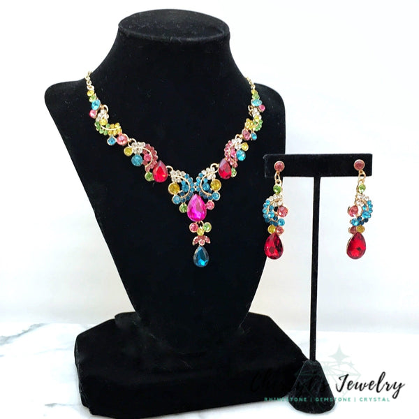 Multicolor Crystal Statement Necklace Set Sets