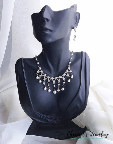 Pearl And Rhinestone Dangle Necklace Earring Set Sets