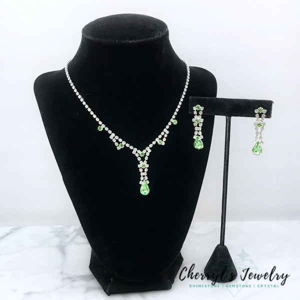 Peridot Green & Clear Rhinestone Necklace Earring Set Sets