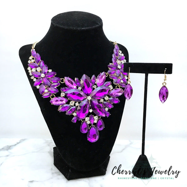 Purple Crystal Statement Necklace Set Sets