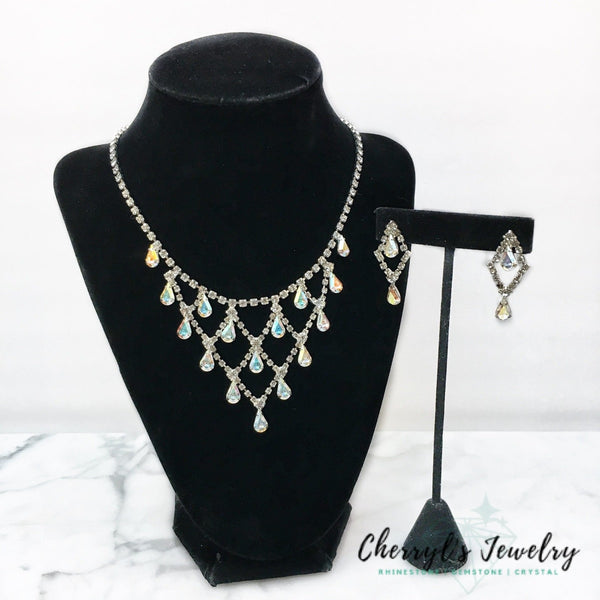 Raining Crystal Rhinestone Aurora Borealis Necklace And Earring Set Sets