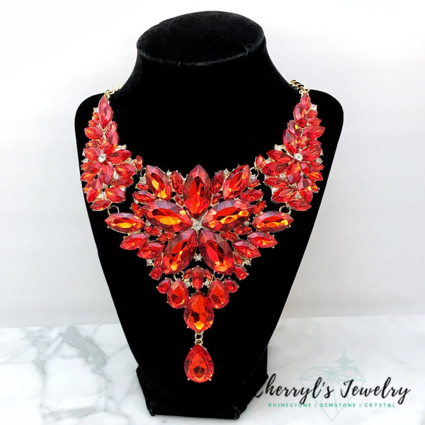 Red Crystal Statement Necklace Set Sets