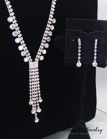 Rhinestone And Ab Crystal Dangle Necklace Earring Jewelry Set For Prom Or Cocktail Sets