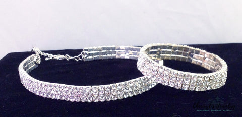 Rhinestone Choker Necklace And Bracelet Set Sets