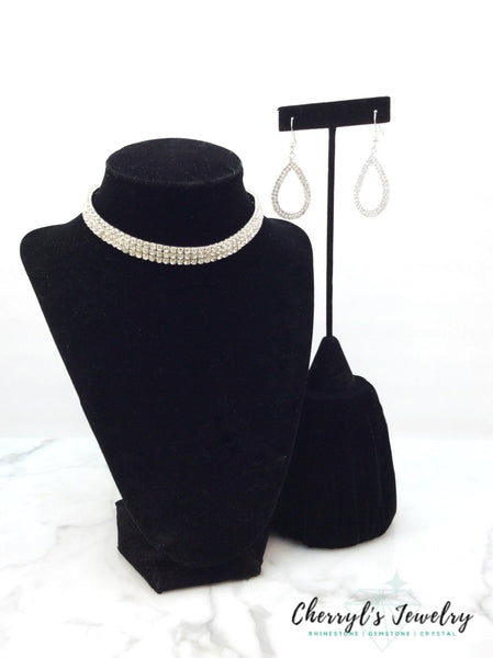 Rhinestone Choker Necklace Set Sets