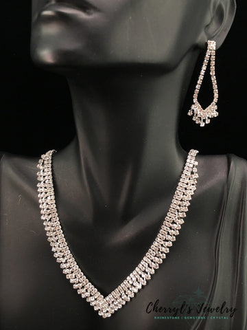 Rhinestone Necklace And Earrings Set Sets