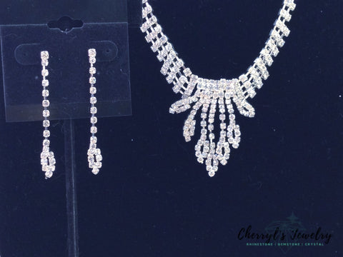 Rhinestone Waterfall Prom Or Cocktail Necklace And Earring Set Sets