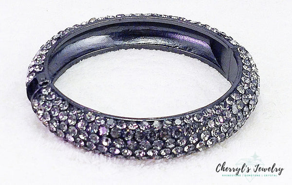 Smokey Grey Pave Crystal Hinged Bangle Bracelet From Jim Ball Bracelets