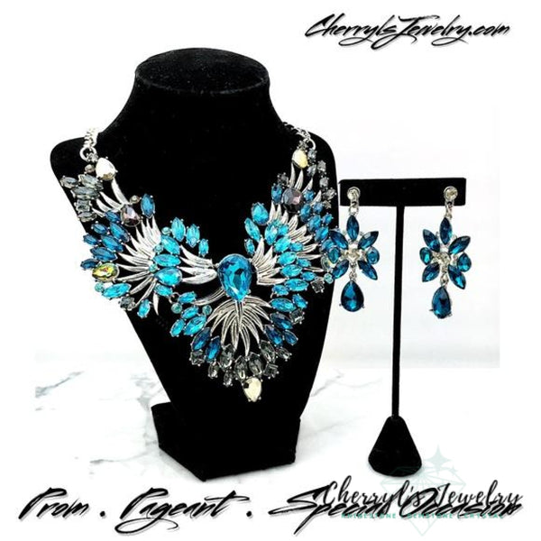 Turquoise Crystal Silver Statement Necklace Set Sets