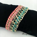 Victorias Secret Color Braided Gold Link Bracelet Bracelets
