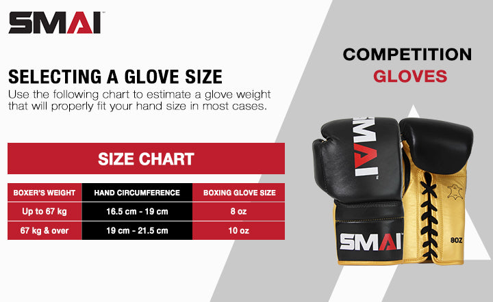 competition boxing glove size chart 8oz and 10oz