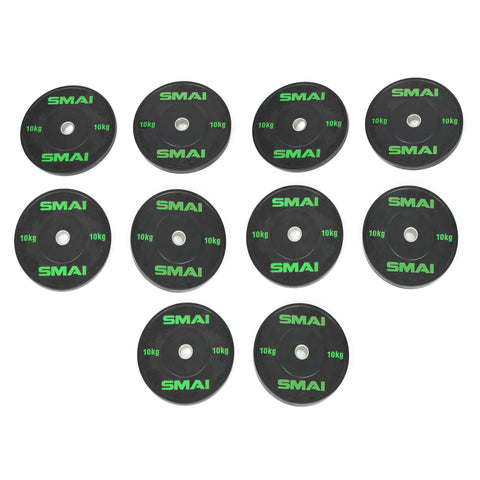 HD Bumper Plates Set - 5 pairs of 10kg (100kg)