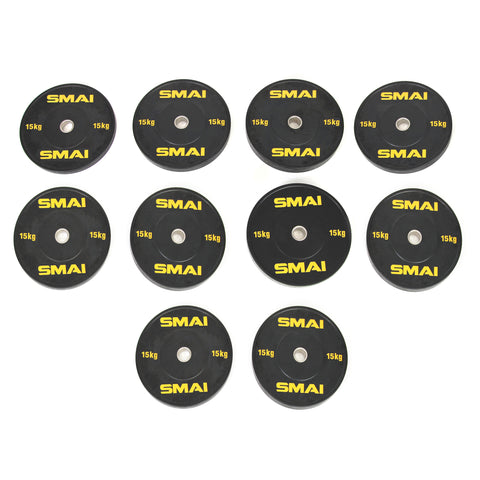 HD Bumper Plates Set - 5 pairs of 15kg (150kg)