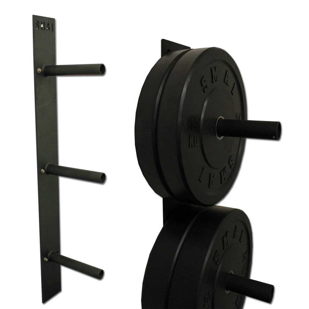 Wall Mount Bumper : Bumper plate wall mounted rack weights fitness