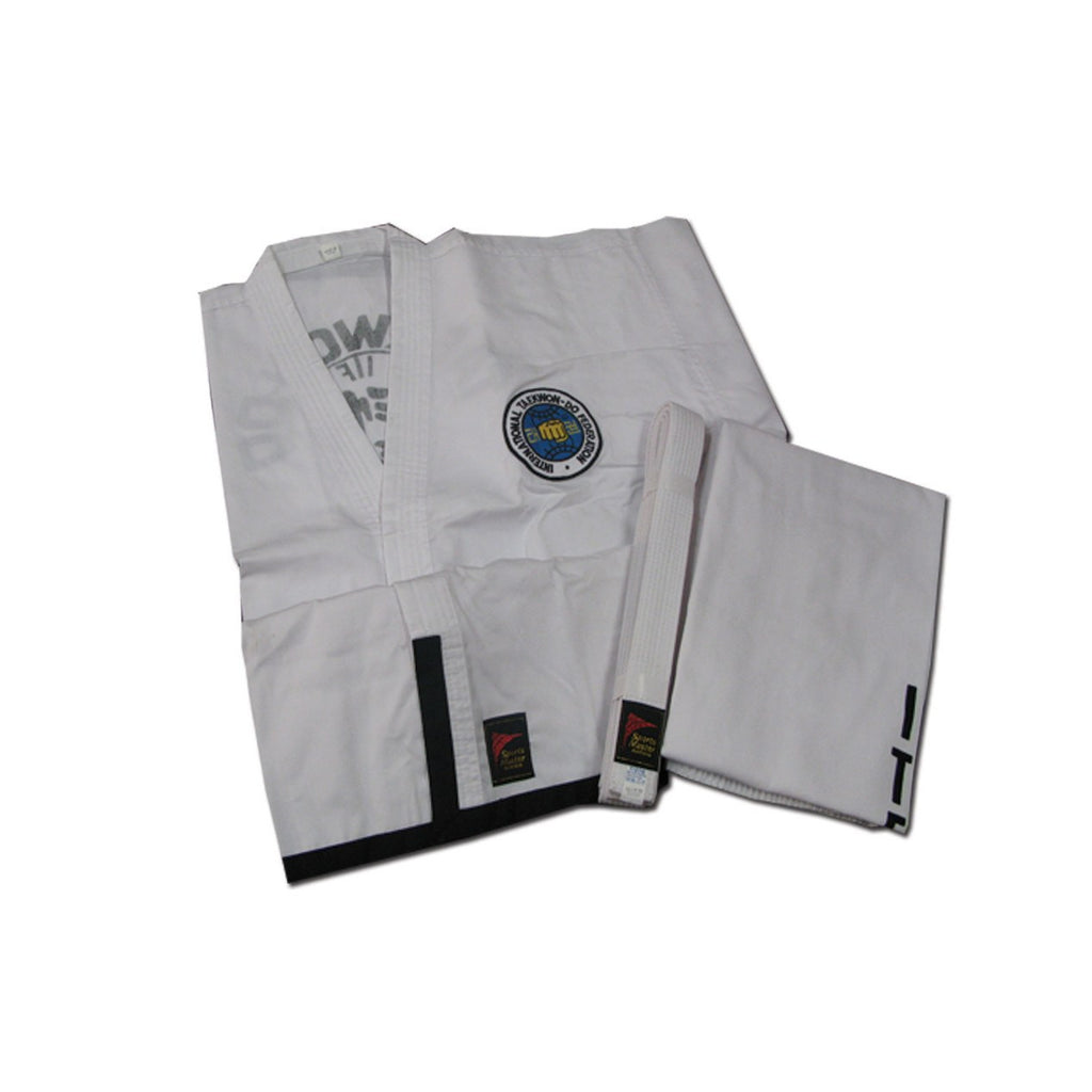 ITF student black trim uniform, martial arts uniform, martial arts uniform kids, kids martial arts uniform, youth martial arts uniform, tkd uniform, tae kwon do uniform