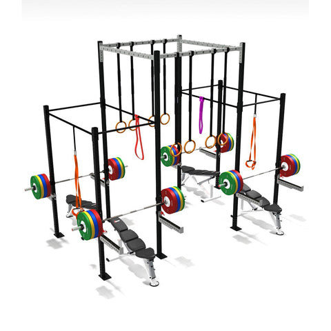 Four Squat Full Cell With High Overpass, squat rack, squat rack mount, olympic squat rack, squat racks, weight rack, gym rig, crossfit rig