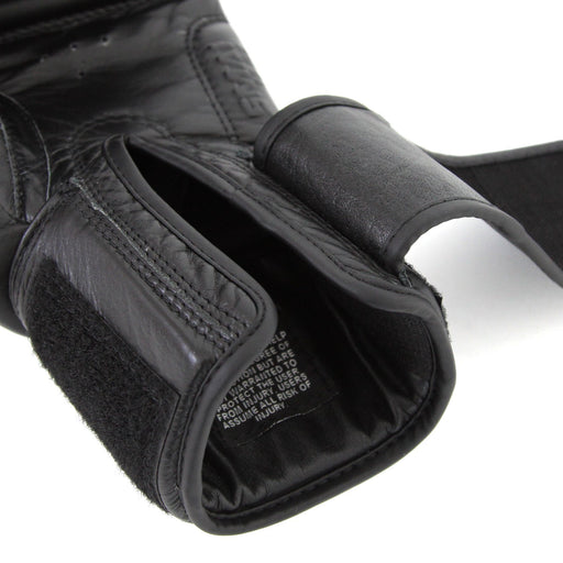 Triple Black Boxing Glove Velcro Wrist Detail, boxing glove, punch glove, smai boxing glove