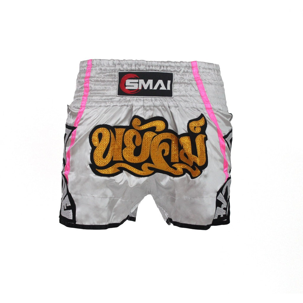 Muay Thai Shorts -Silver Pink, Combat Apparel