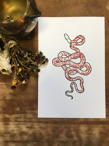 Snake and Peonies Letterpress Print