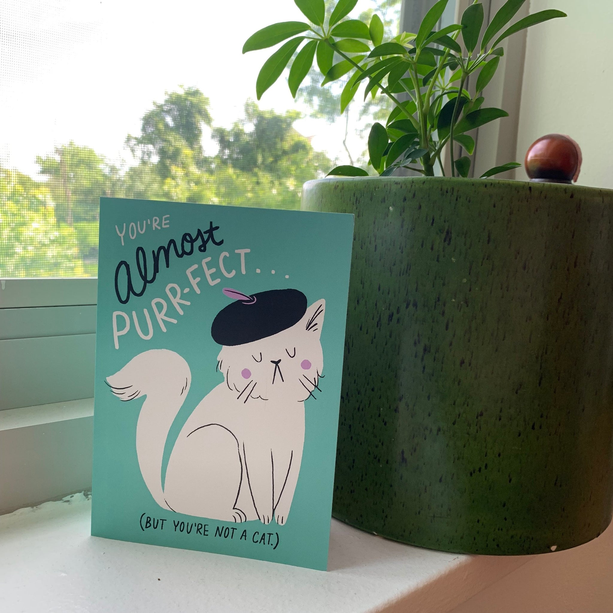 """You're almost purr-fect"" Greeting Card by Kim Bogeman"