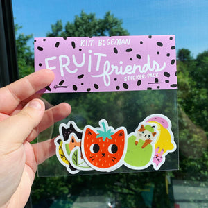 """Fruit Friends"" Sticker Pack by Kim Bogeman"