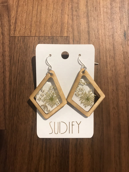 Queen Anne's Lace Wood Earrings