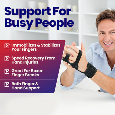 Boxer Finger Splint Hand Brace – Hand Brace & Metacarpal Splint for Broken Fingers, Wrist & Hand Injuries or Little Finger Fracture