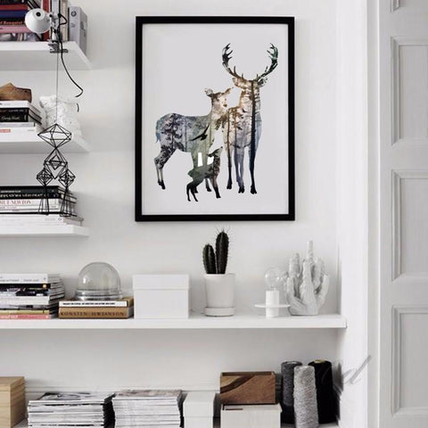 Home Decor - Deer Family Silhouette
