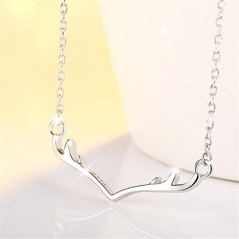 925 Sterling Silver Deer Antlers Necklace