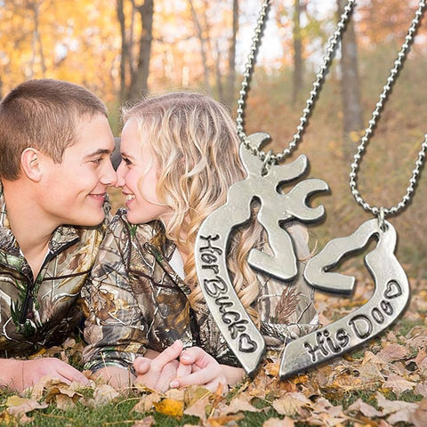 Buck and Doe Heart Shaped Couples Necklaces - Just Pay Shipping