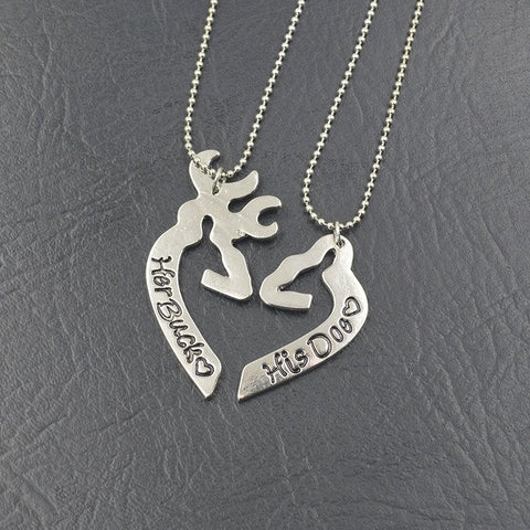 Jewelry - Buck And Doe Heart Shaped Couples Necklaces - Just Pay Shipping
