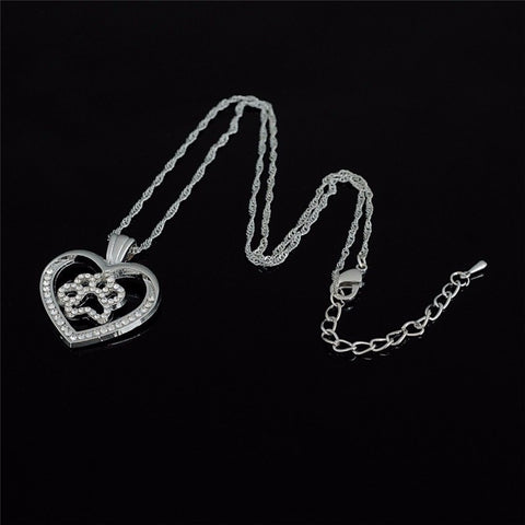 Jewelry - Dog Paw Print Paved Heart Necklace