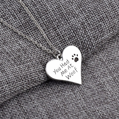 "Jewelry - ""You Had Me At Woof"" Paw Print Heart Necklace"