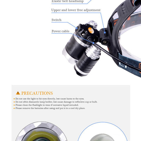 Outdoors - 3 PACK: ULTRA Bright LED Rechargeable Headlamp