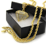 196 - 14K Gold Plated Diamond Pendant W/ Chain