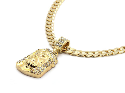 196 - 14k Gold Plated Jesus Piece & Chain