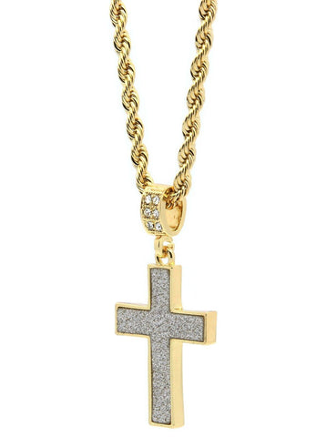 196 - 14K Gold Plated Stardust Cross